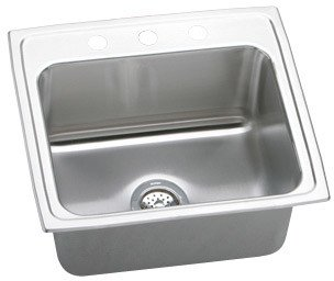 Elkao|#Elkay DLR2219100 18-Gge Stainless Steel 22 Inch x 19.5 Inch x 10.125 Inch single Bowl Top Mount Kitchen Sink,