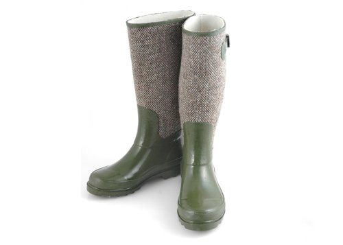 Ladies Knee High Wellies / Wellington Boots with Tweed Design