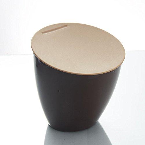 POTOLON 卓上ゴミ箱 PPプラスチック材質ゴミ箱 ミニスタイル フタ付きゴミ箱 (ブラウン)