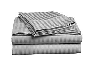 ITALIAN HOME COLLECTION 1500 TC Luxury Soft Wrinkle Resistant Striped FULL/QUEEN Duvet Cover Set, GREY