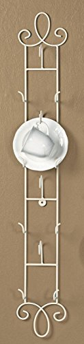 Vertical Antique White Cup & Saucer Wall Rack - 35.5