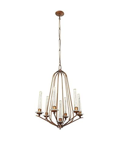 Varaluz Madison 7-Light Chandelier, Hammered Ore/Gold Mercury Glass