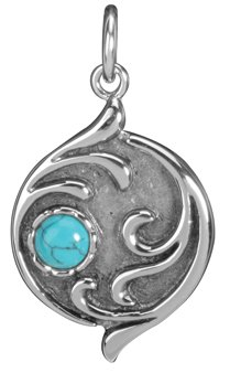 Turquoise Moon Pendant - Collectible Medallion