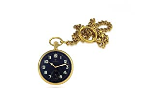 Catorex Men's 170.6.1810.321 Les Breuleux 18k Gold Plated Brass Black Luminous Dial Pocket Watch