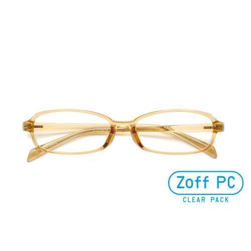 【Zoff PCクリアレンズ・パック】パソコン用メガネ PCメガネ オーソドックスなスクエア(度なし)(Shiny Beige)