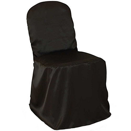 Lann's Linens Premium Satin Banquet Chair Cover - for Wedding or Party Use - Black - 10pcs