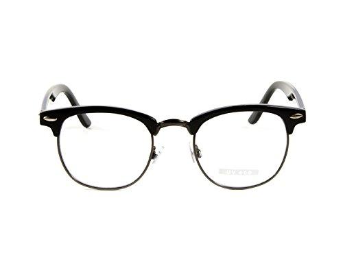 Goson Vintage Inspired Classic Half Frame Horn Rimmed Clear Lens Glasses 0