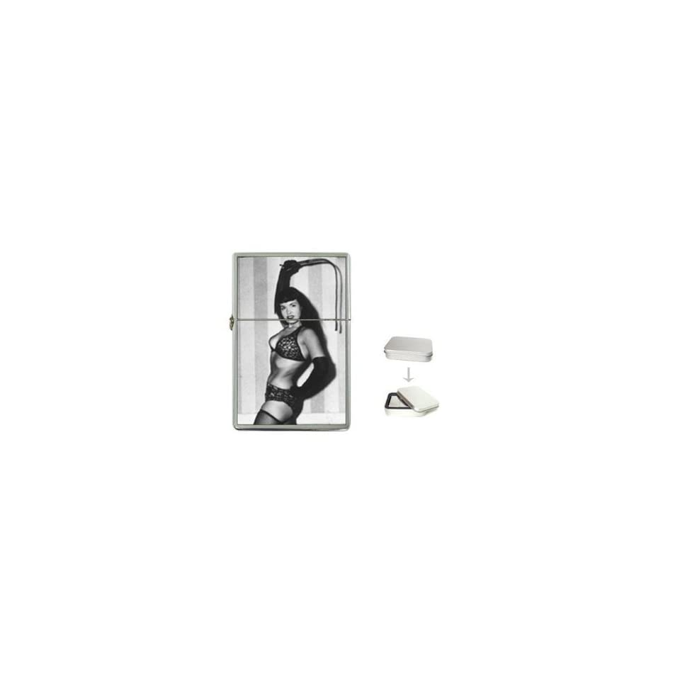 New Product BETTIE PAGE WITH A WHIP Flip Top Cigarette Lighter + free Case Box