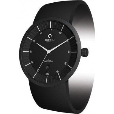 Obaku By Ingersoll Gents Black Dial Black Rubber Strap Watch