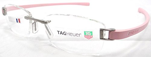 20e802aece0 Tag Heuer Track Rx Eyeglasses Frames Th 7107 007 54X18 Silver Pink Rimless