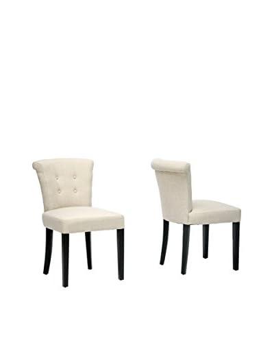 Baxton Studio Set of 2 Philippa Dining Chairs, Beige