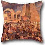 Pillowcover Of Oil Painting Tonks, Henry - An Advanced Dressing Station In France, 1918,for Bar,car,lover,husband,teens Girls,dinning Room 16 X 16 Inches / 40 By 40 Cm(two Sides) (Bar 1918 compare prices)