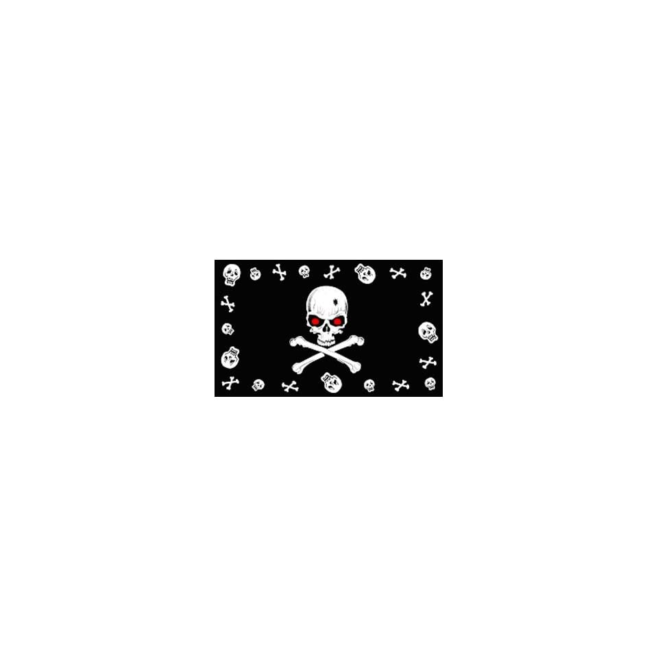 Pirate Flag   Red Eyed Skull & Bones with Border