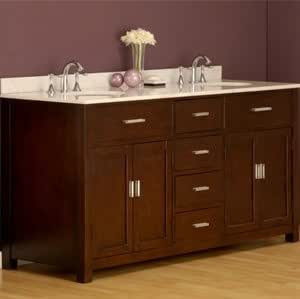 70 Inch Hutton Double Bathroom Vanity Sink Console With Tobacco Stain Finish And White Marble