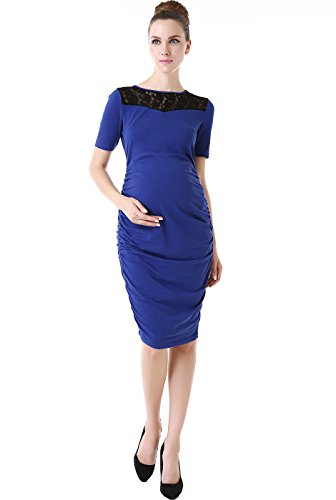 "Momo Maternity ""Ally"" Lace Inset Body Con Dress - Royal Blue L front-950865"