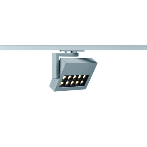 SLV 1-Phasen Strahler Profuno, 18W, Power LED, 3000K, 30 Grad, inklusiv Adapter, silbergrau 144054