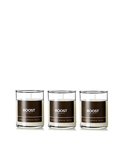 Bluewick Candles Set of 3 Sandalwood Musk ROOST London Everyday Scented 3.2-Oz. Votive Candles