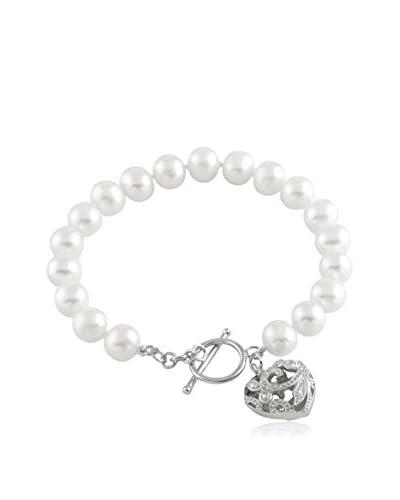 Splendid White 6.5-7mm Freshwater Pearl Bracelet with Fancy Heart Toggle
