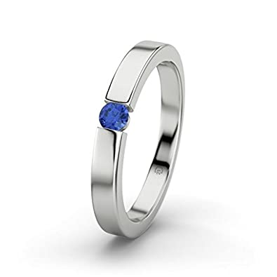 21DIAMONDS Women's Ring Bianca Blue Sapphire Diamond Engagement Ring - Silver Engagement Ring