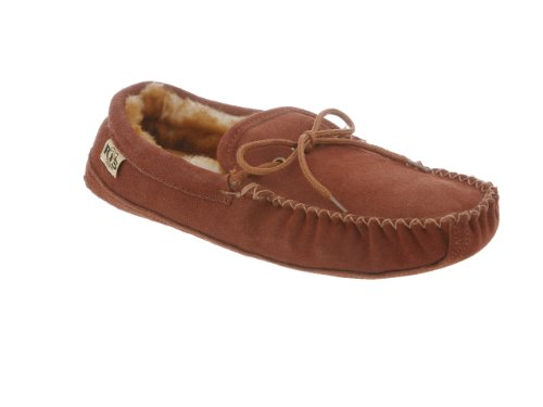 Rj'S Fuzzies Mens Sheepskin Leather Lined Soft Sole Moccasins (Chestnut, 14)