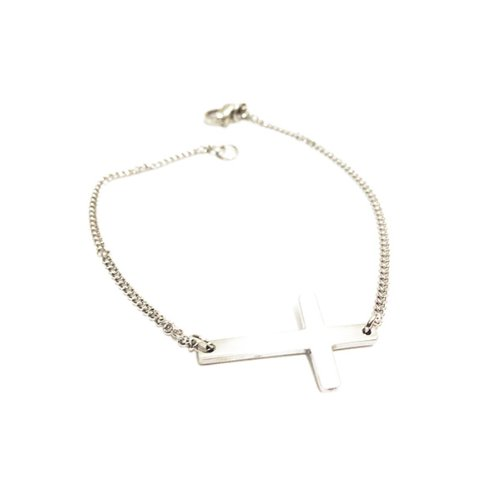 apop nyc Silver Horizontal Cross Bracelet 7 inch Stainless Steel