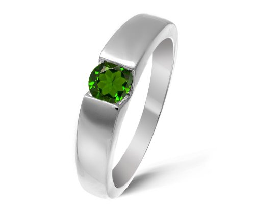 Modern 9 ct White Gold Ladies Solitaire Engagement Ring with Chrome Diopside 0.40 ct