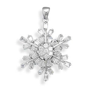 Rhodium Plated Sterling Silver CZ Snowflake Pendant 37 Total Round and Baguette Czs Charm
