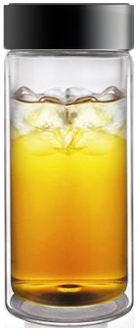 Sun&#8217;s Tea (TM) 18oz Ultra Clear Spill-proof Strong Double-wall Glass Travel Mug/cooler Glass/thermal Glass with Screw-on Cap. Ideal for Icy Cold Soda, Water, Iced Tea, Lemonade, or Hot Tea and Coffee
