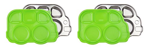 Innobaby Din Din Smart Stainless Divided Platter with Sectional Lid (2 Trays, Green)