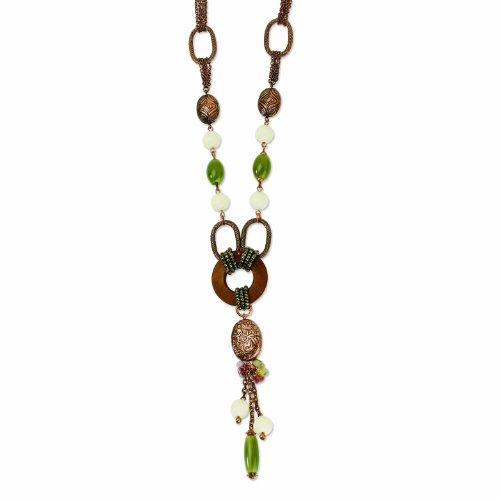Copper-Tone Jade/Amethyst/Tan Bead & Brown Iris Disc 20 Necklace