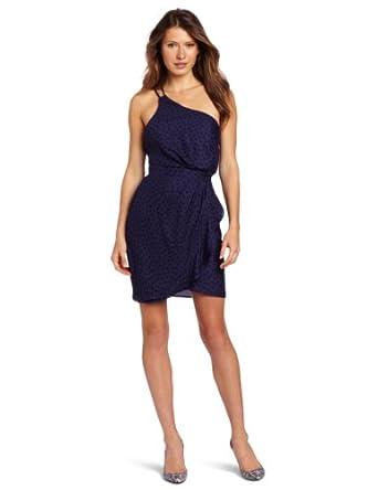 Bcbgeneration Women's One Shoulder Ruffle Dress, Royal Blue Combo, 0