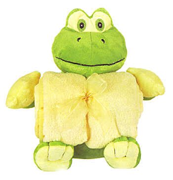 Plush Frog with Rolled up Blanket 12