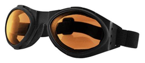 Bobster Bugeye Goggles,Black Frame/Amber Lens,one size
