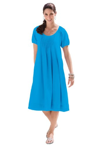 Woman Within Plus Size Knit Pintuck Short Trapeze Dress (Bluebell,1X ...