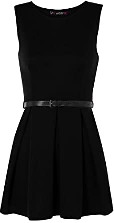 Ladies Belted Flared Skater Short Mini Dress Sleeveless Pleated Womens - Black - 8