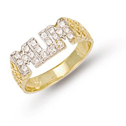 9ct Yellow Gold 19mm Cz Mum Ring
