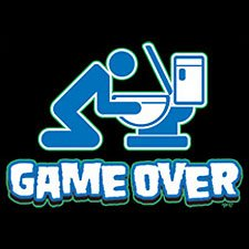 Game Over Drinking T-shirt,  White