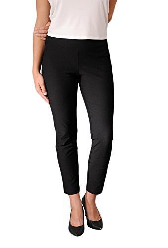 Eileen Fisher womens SLIM ANKLE PANT W/YK in Black size LRG