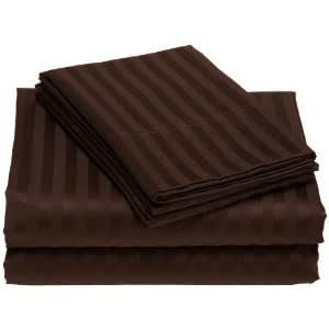 Amazon Damask Stripes Chocolate 300 Thread Count Twin Extra Long Size Sheet Set 100 %