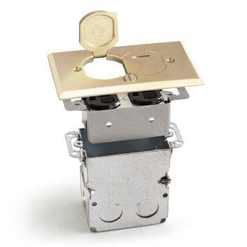 Orbit Complete Floor Box Brass Flip Cover Plate