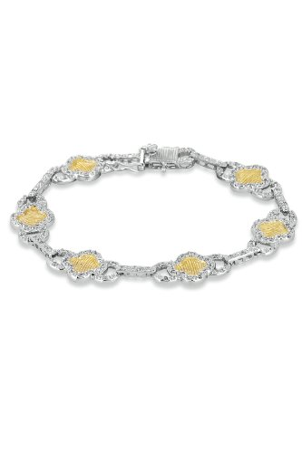 Maureen's Two Tone Bracelet Flower Set Cubic Zirconia Accented w/ Hammered Center - Incl. ClassicDiamondHouse Free Gift Box & Cleaning Cloth