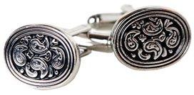 Retro Silver & Black Paisley Oval Cufflinks with Presentation Box