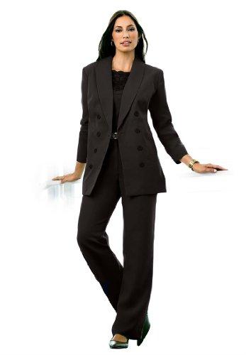Джессика Лондоне женщины's Plus Size двубортный черный брючный костюм,12