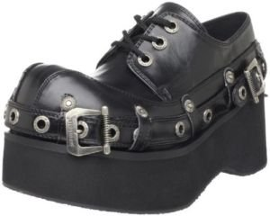 Demonia Flat New Buckle Platform Black Lace Up PU Rock Goth VEGAN Unisex Shoes - Ladies UK 6 / EU 39 / US 9