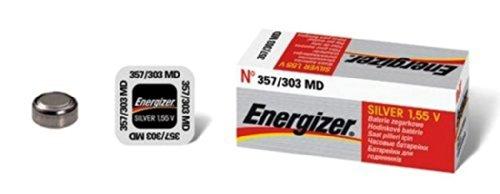 Energizer 357/303 AG13 Lot de 10 piles boutons à l'oxyde d'argent pour montre