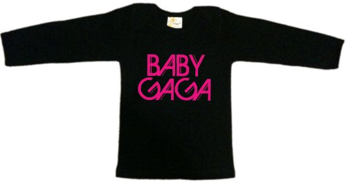 'baby gaga' black baby long sleeve t-shirt top, 100% cotton, 0-3 months