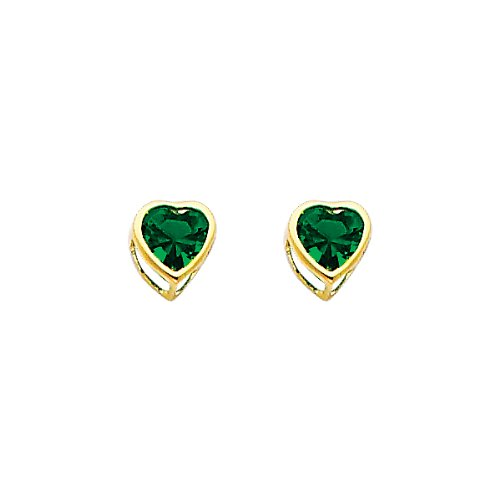 14K Yellow Gold Plated CZ Heart Shape May Emerald Birthstone Bezel Stud Earrings for Child & Women (Emerald, Green)