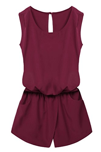 ACEVOG Women Clubwear Summer Playsuit Party Jumpsuit Romper Trousers Wine Red M