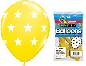 "PIONEER BALLOON COMPANY 5 Count Round Big Stars, 11"", Yellow - 1"