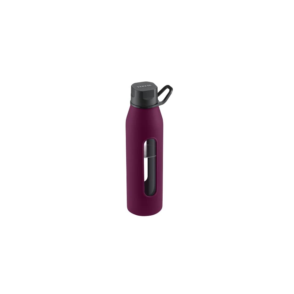 Takeya Classic Glass Water Bottle with Silicone Sleeve, Purple, 22